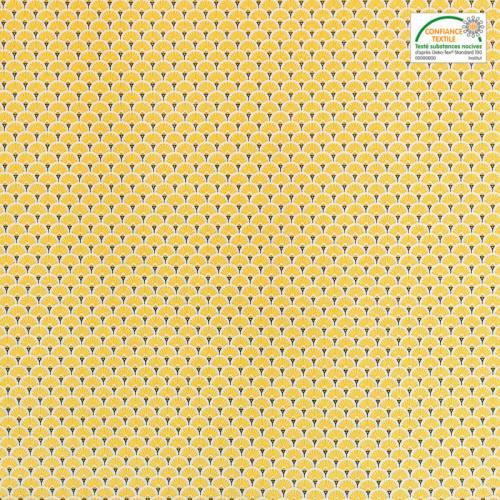 Coton imprimé éventails jaunes et or