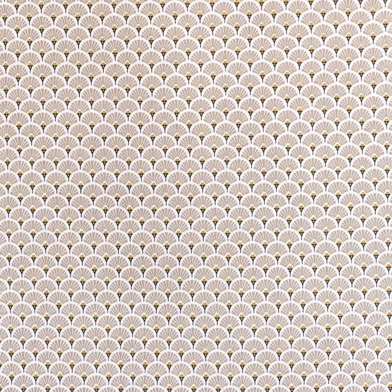 Coton imprimé éventails beiges et or