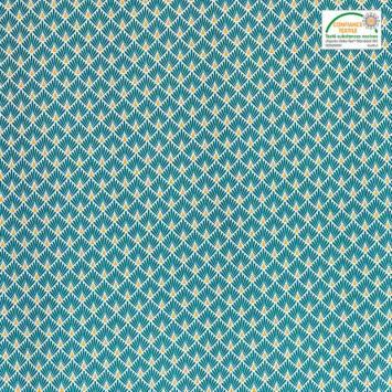 Coton imprimé écailles bleu canard et or