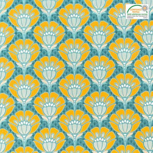 Toile coton motif japonais lurex doré, bleu et jaune