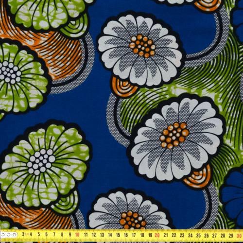 Wax - Tissu africain motif fleurs bleues et blanches 59