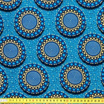 Wax - Tissu africain bleu motif rond pailleté 54