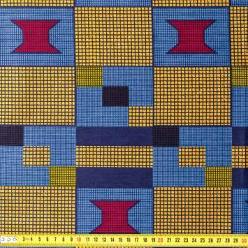 Wax - Tissu africain carreaux bleu et or pailleté 50