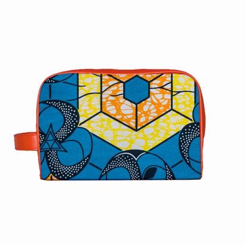Wax - Tissu africain bleu motif orange et jaune 53
