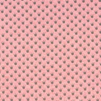 Tissu molleton French Terry chiné rose imprimé couronnes