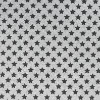 Tissu molleton French Terry chiné gris imprimé étoile