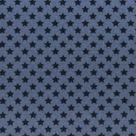 Tissu molleton French Terry chiné bleu jean imprimé étoiles