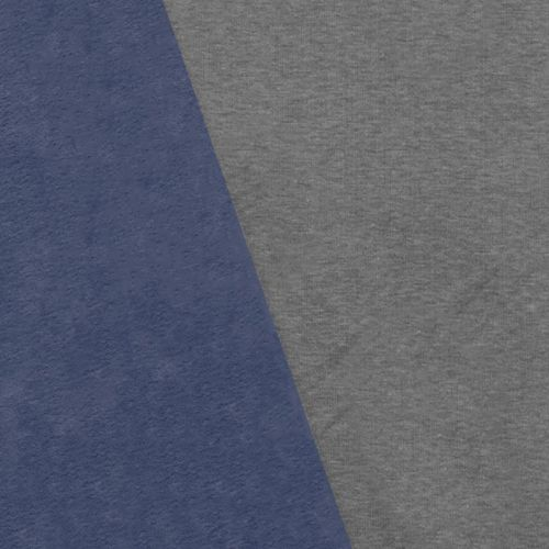 Tissu molleton gris réversible bleu