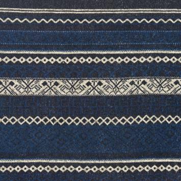 Lainage pour pull bleu imprimé losange