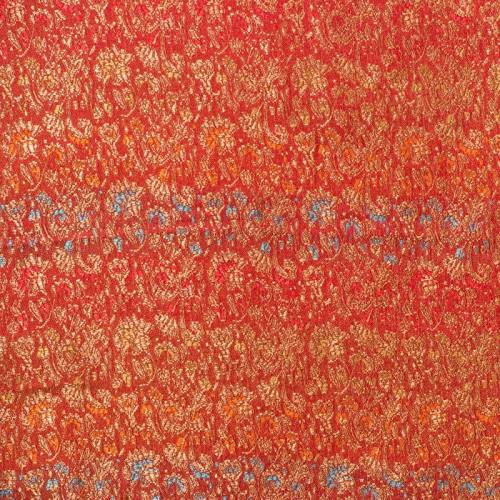 Satin asiatique rouge petits motifs or