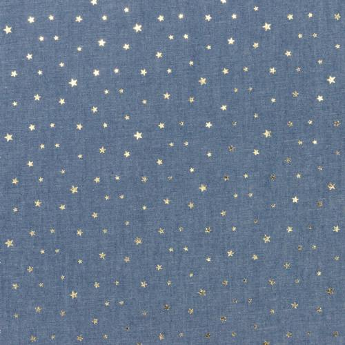 Tissu jean bleu clair motif étoile doré