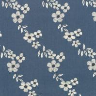 Tissu jean bleu motif fleur