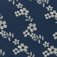 Tissu jean bleu foncé motif fleur