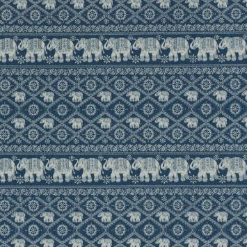 Tissu jean bleu clair motif éléphant