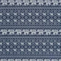 Tissu jean bleu foncé motif éléphant