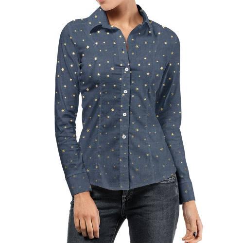 Tissu jean bleu motif étoile argenté