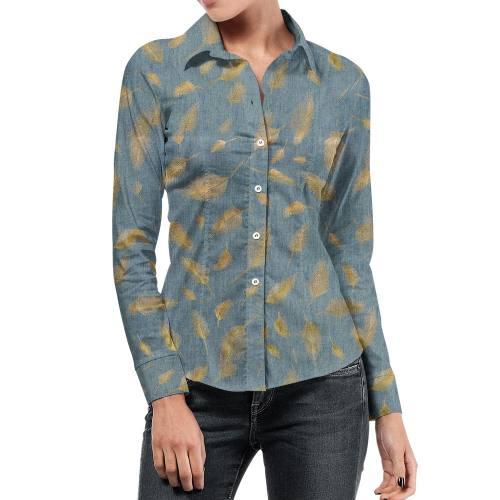 Tissu jean bleu clair motif plume argenté