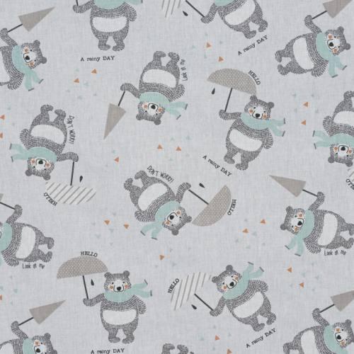 Coton blanc ourson gris et vert d'eau