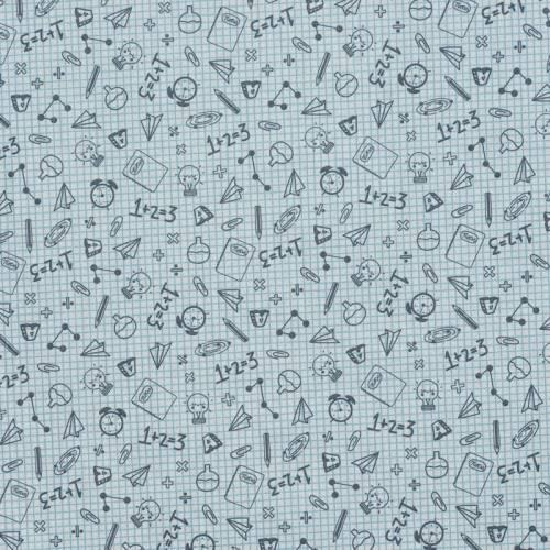 Coton blanc imprimé cahier d'écolier