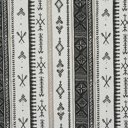 Coton blanc dessin ethnique noir et taupe