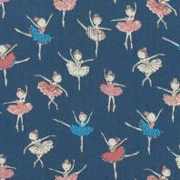 Tissu jean bleu clair motif danseuse