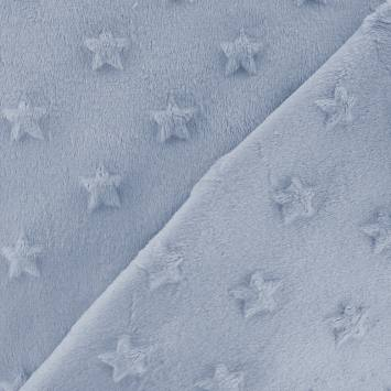 Minky vert bleu ciel relief étoiles