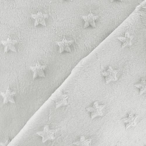 Minky gris perle relief étoiles