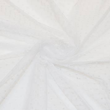 Tulle extensible blanc à pois ivoire