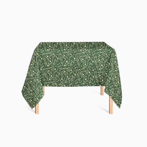 Coton vert imprimé de Noël doré
