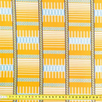 Wax - Tissu africain ocre et bleu clair pailleté 68