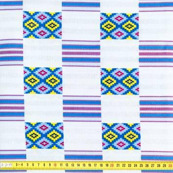 Wax - Tissu africain blanc et bleu pailleté motif géométrique 67