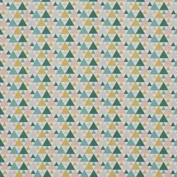Coton blanc motif triangle vert et rose