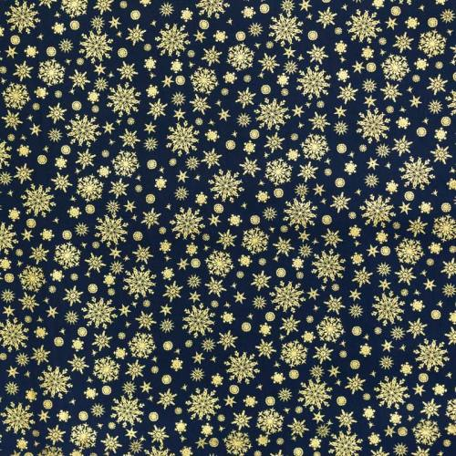 Coton Noël bleu marine imprimé flocons dorés