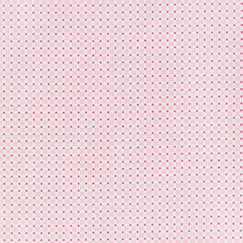 Coton blanc motifs croix roses et points fuchsia