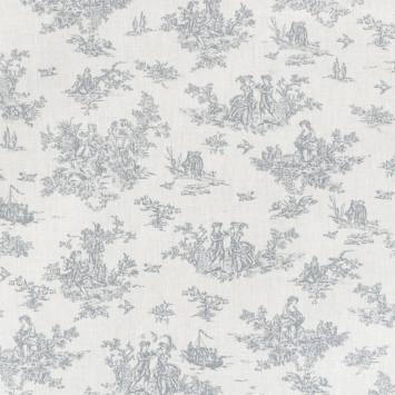Coton blanc effet toile de jouy grise