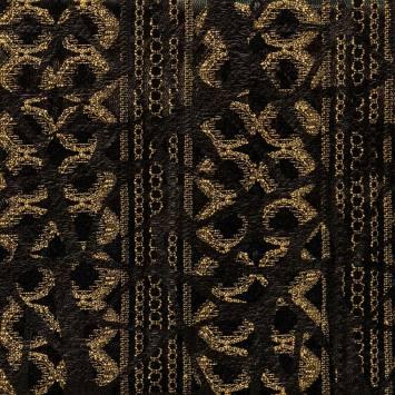 Maille extensible noire et or effet simili cuir