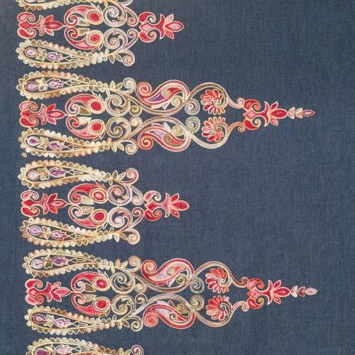 Tissu jean bleu motif brodé
