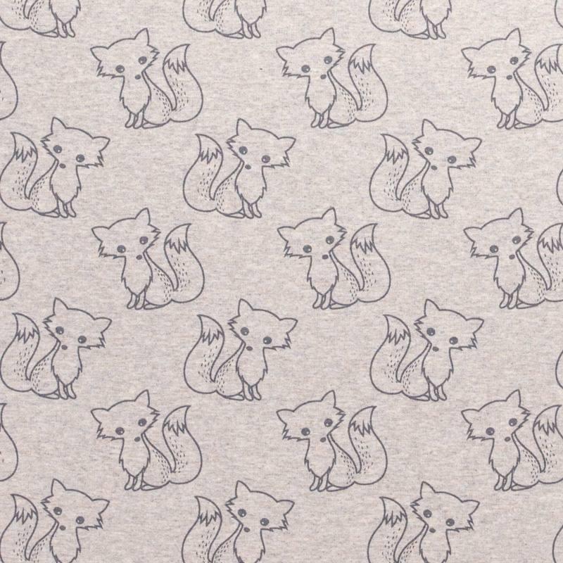 Tissu molleton French Terry chiné grège imprimé renards