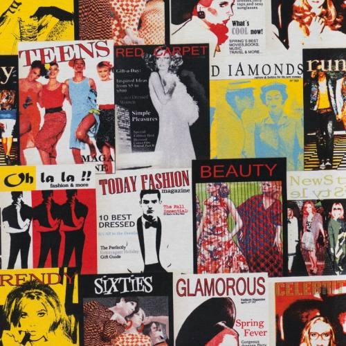 Toile polycoton imprimée magazine vintage