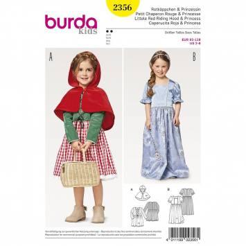 Patron Burda 2356 : Petit chaperon rouge et princesse Taille 92-128cm