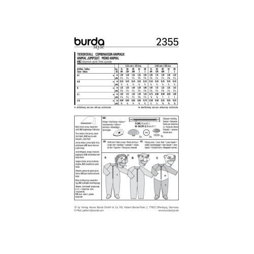 Patron Burda 2355 : Combinaison animaux Taille 74-98 cm