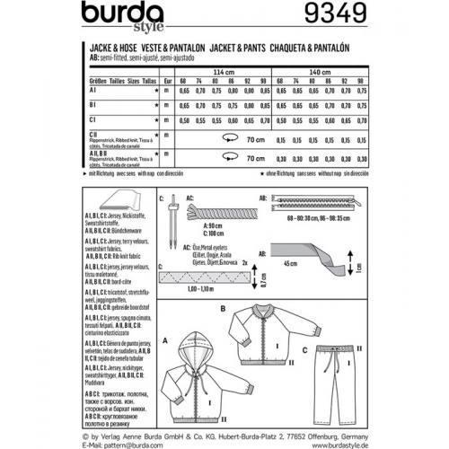 Patron Burda 9349 : Veste et pantalon bébé Taille : 68-98 cm