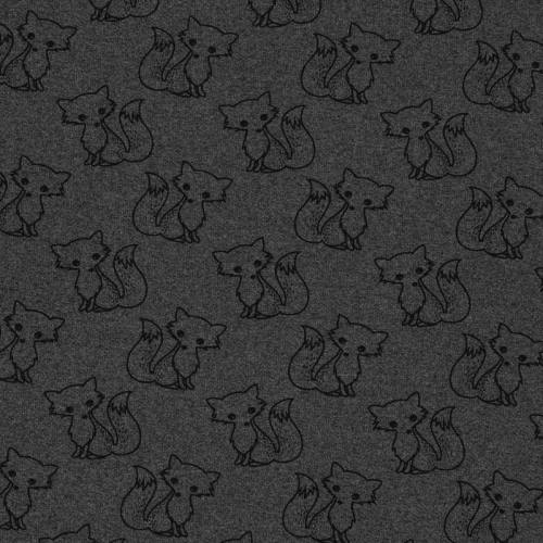 Tissu molleton French Terry chiné anthracite imprimé renards