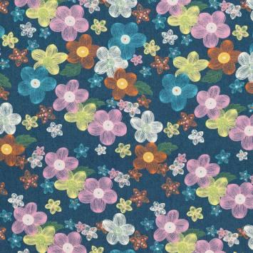 Tissu jean bleu motif fleur colorée