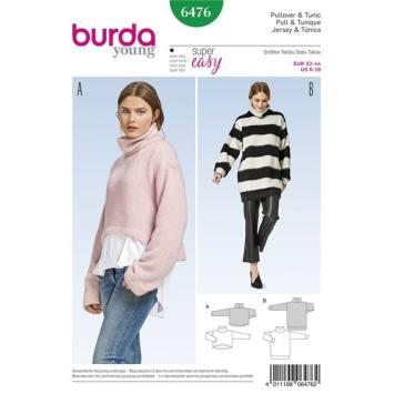 Patron Burda 6476 : Pull et tunique Taille : 32-44