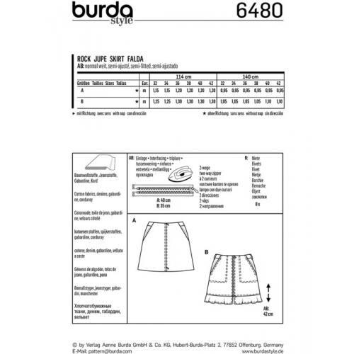 Patron Burda 6480 : Jupe Taille : 32-42