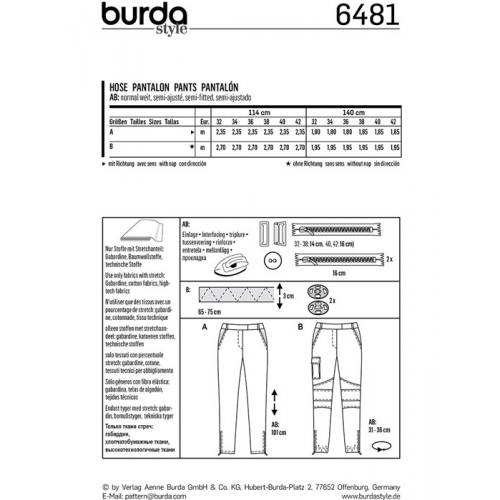 Patron Burda 6481 : Pantalon Taille : 32-42