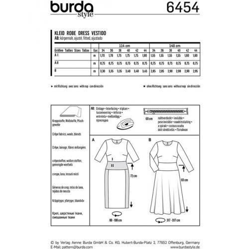 Patron Burda 6454 : Robe Taille : 34-44