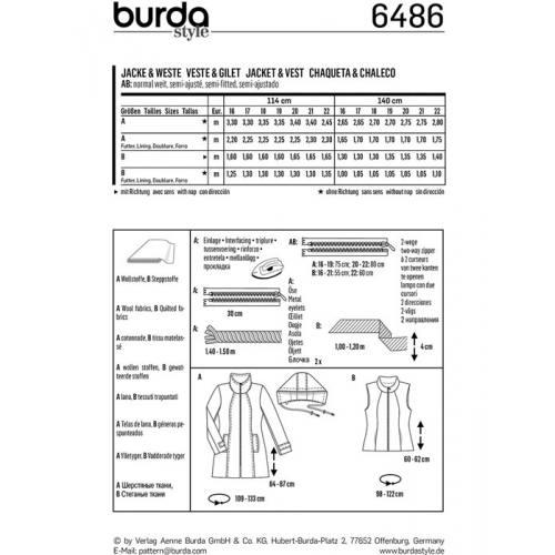 Patron Burda 6486 : Veste et gilet Taille : 16-22