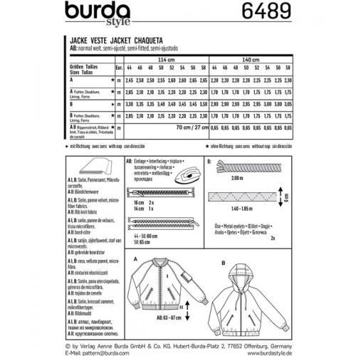Patron Burda 6489 : Veste Taille : 44-58